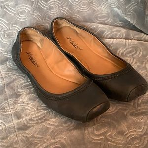 Lucky Brand ballet flats black leather square toe